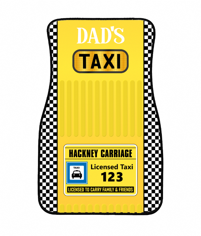 Mum, Dads or Anyname Taxi Design Personalised Floor Car Mat